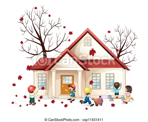 kids in front of house - csp11431411