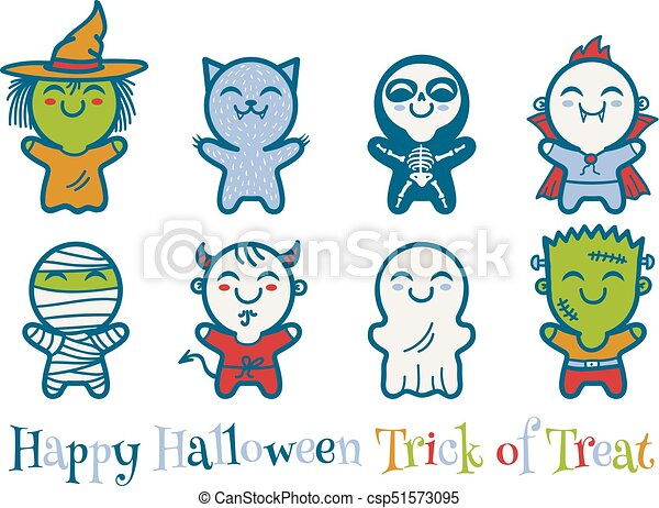 b15086c55eed vector set icons children with costumes for halloween cute kids in  halloween monsters costumes