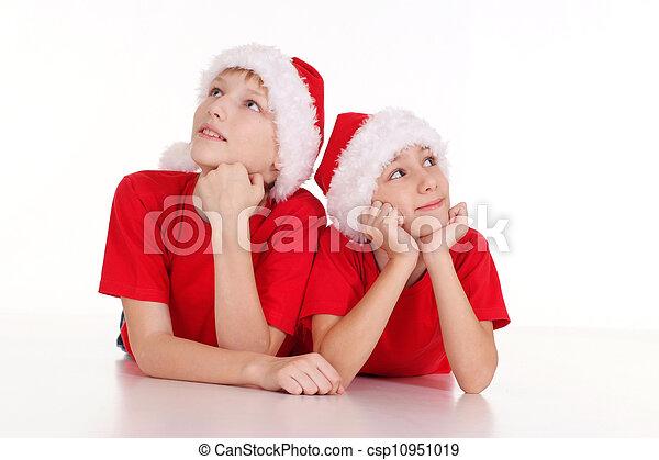 kids in santa hats - csp10951019