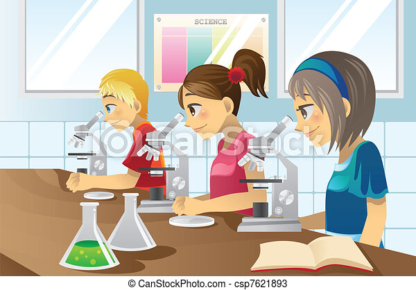 Kids in science lab - csp7621893