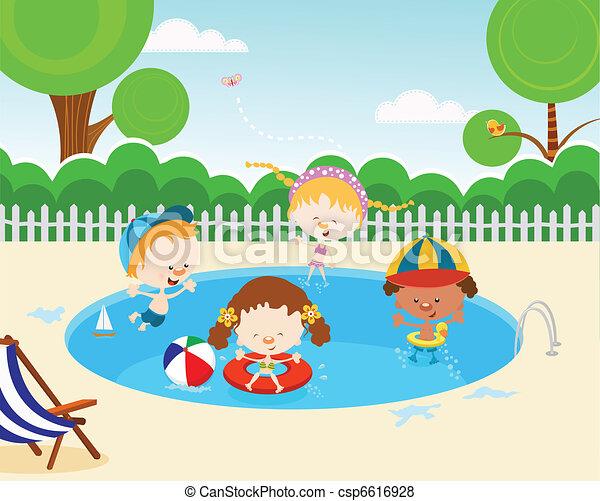 Kids in swimming pool cute kids having fun vector for Swimming pool drawing