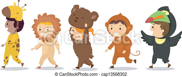 illustration of little kids in their animal costumes vector clipart rh canstockphoto com Animal Coloring Pages Zoo Animal Clip Art