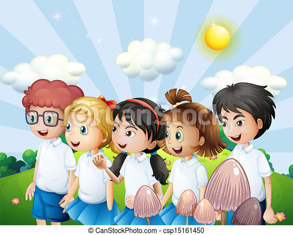 Line Art Uniform : Illustration of the kids in their school uniform walking at