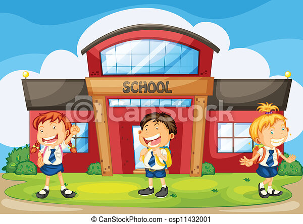 illustration of a kids infront of school rh canstockphoto com clipart of school buildings clipart of school banners