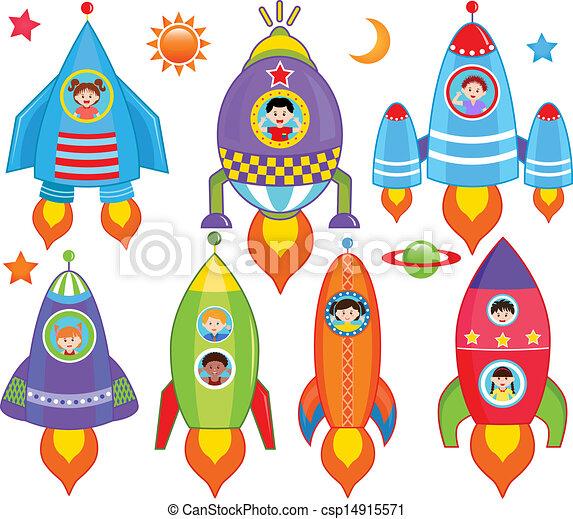 Kids inside Spaceship - csp14915571