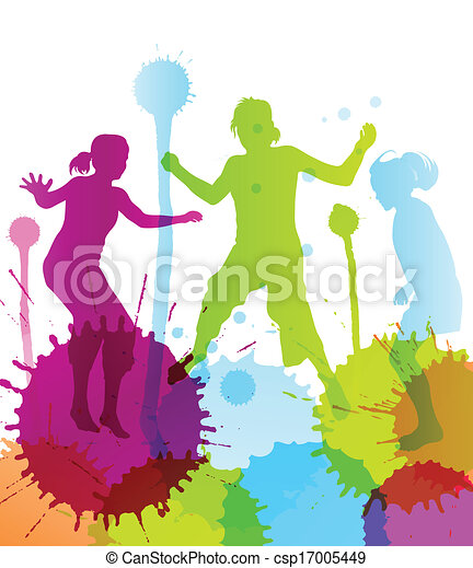 Kids jumping colorful bright ink splashes background - csp17005449