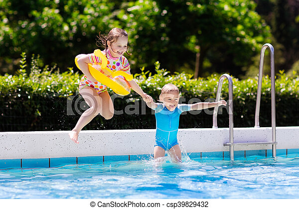 Kids Jumping Into Swimming Pool Happy Little Girl And Boy Stock Photos Search Photographs