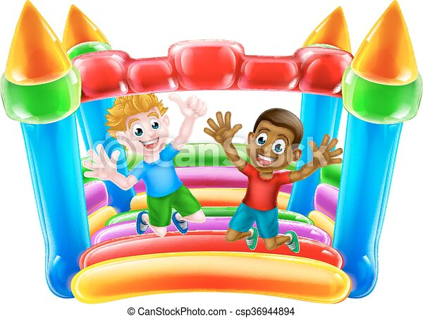 Kids Jumping on Bouncy Castle - csp36944894