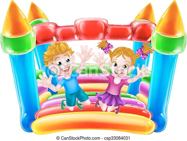 Kids Jumping on Bouncy Castle - csp33084031