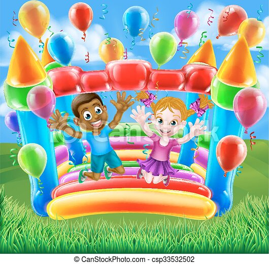 Kids Jumping on Bouncy Castle - csp33532502