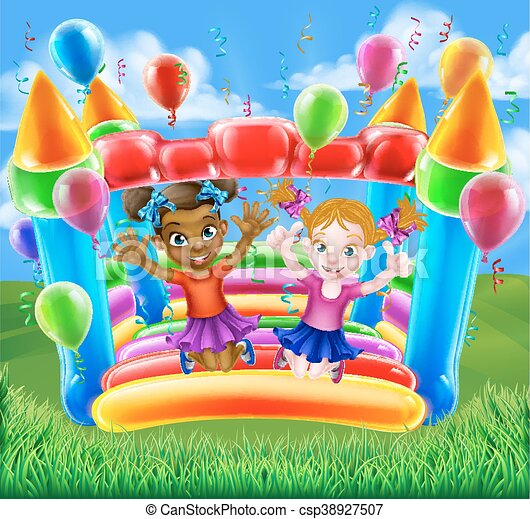 Kids Jumping on Bouncy Castle - csp38927507