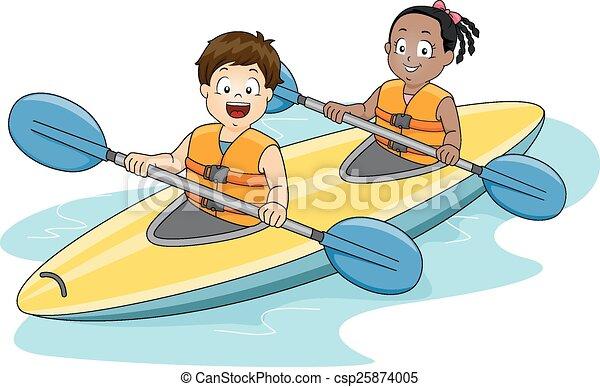 Kids Kayaking Illustration Of A Boy And Girl Maneuvering Kayak