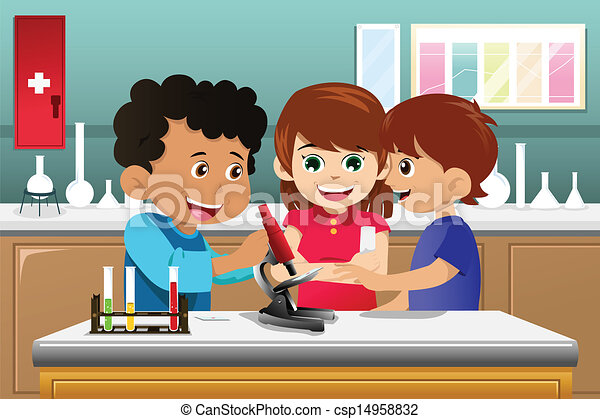 Kids learning science in a lab - csp14958832