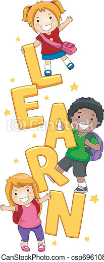 kids learning illustration of kids posing with the word learn rh canstockphoto com Learning Disability Clip Art Reading Clip Art