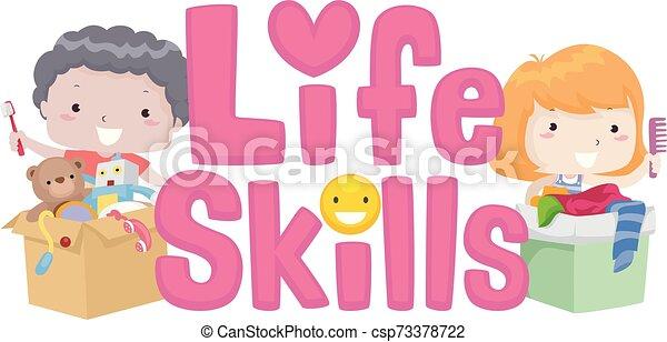 Kids Life Skills Lettering Illustration - csp73378722