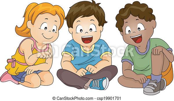 Kids Looking Down While Sitting - csp19901701