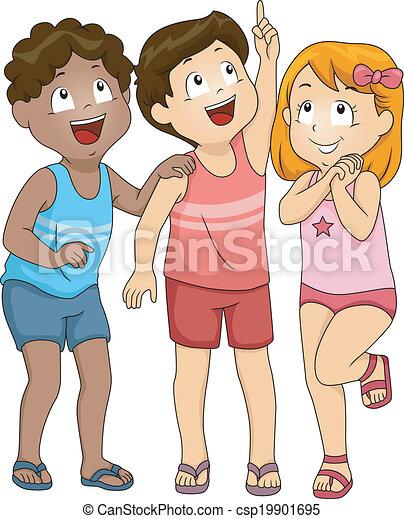 Kids Looking Up - csp19901695