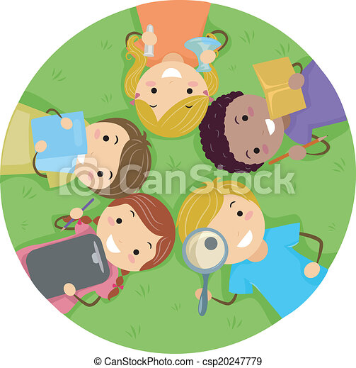 Kids Lying on the Grass - csp20247779