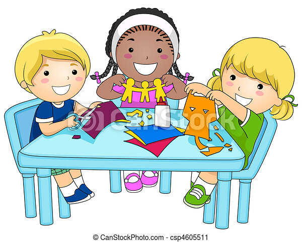 a small group of kids making paper cutouts rh canstockphoto com making clip art transparent background making clipart online
