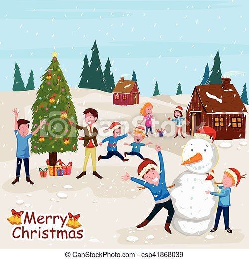 Kids Making Snowman With Santa Cap For Merry Christmas Celebration In Vector Canstock
