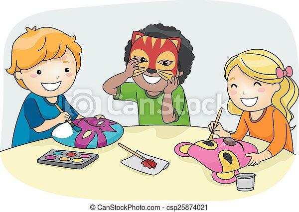 kids mask making illustration of kids making colorful party rh canstockphoto com making clip art in photoshop making clip art people online
