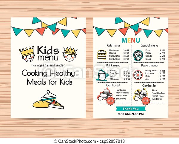Kids Meal Menu Vector Template ,restaurant Menu Design  Free Kids Menu Templates
