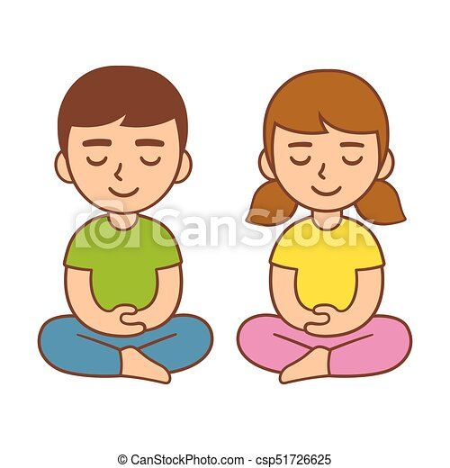 Kids Meditation Illustration Meditation For Kids Children Mindfulness Activity Cute Cartoon Boy And Girl Vector Character