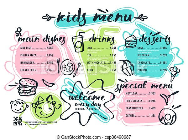Kids menu template with lettering and badges in brush drawing style ...