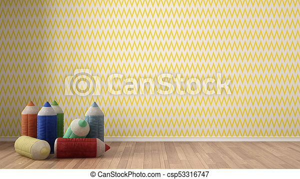 Kids Minimalist Colorful Background With Stuffed Colored Pencils On Parquet Flooring Child Room Nursery Yellow And White Wallpaper Interior Design