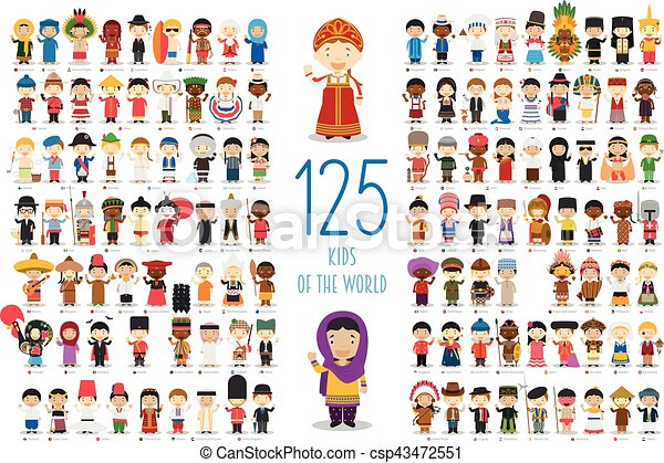 Kids of the World Vector Characters Collection: Set of 125 children of different nationalities in cartoon style. - csp43472551