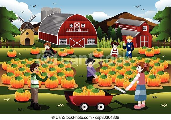Kids on a Pumpkin Patch Trip in Autumn or Fall Season - csp30304309