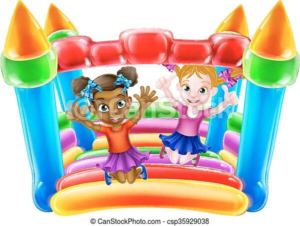 Kids on Bouncy Castle - csp35929038
