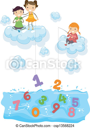 Kids on Clouds Fishing for Numbers at Sea - csp13568224
