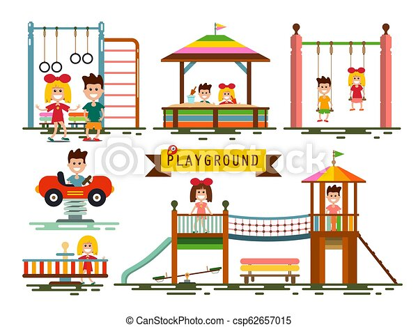 Kids on Playground Set Isolated on White Background - Vector - csp62657015