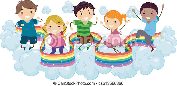 kids on rainbow clouds illustration of kids playing on the clouds rh canstockphoto com