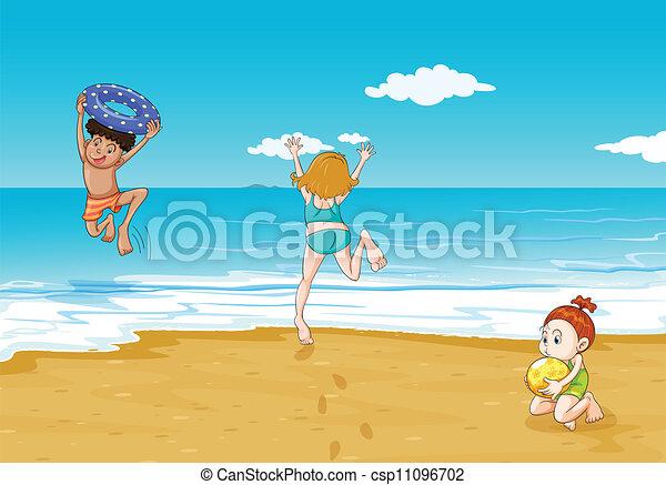 illustration of kids on seashore in a beautiful nature rh canstockphoto com seashore clipart free seashore clipart free