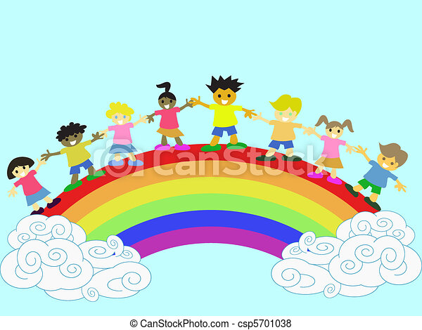 kids on the rainbow - csp5701038