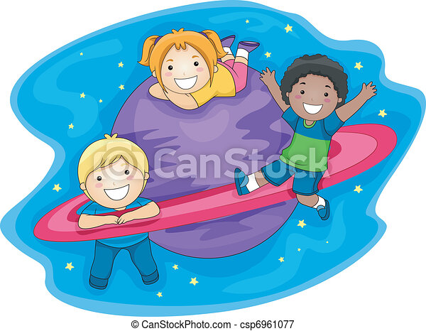 Kids Outer Space Illustration Of Playing In The