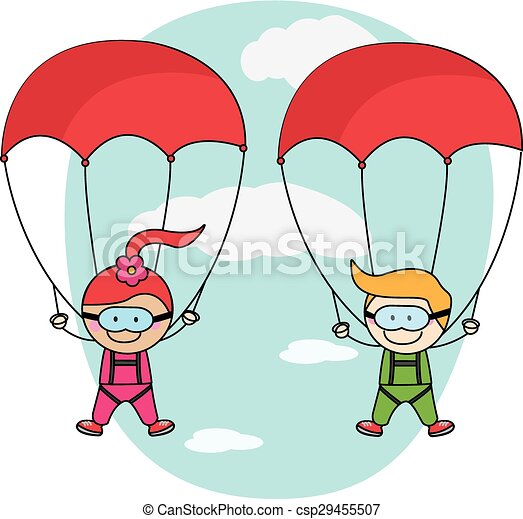 91bed6afad8 Kids parachute boy and girl - csp29455507