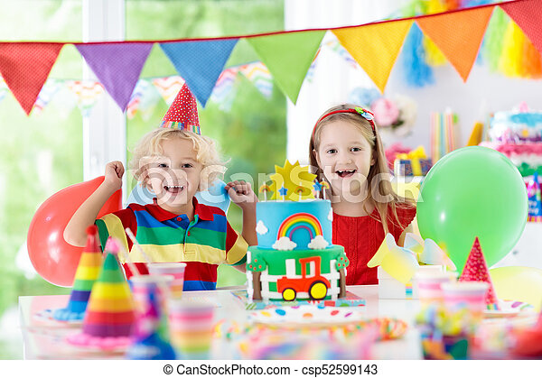 Kids Party Birthday Cake With Candles For Child Kids Birthday
