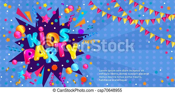 Kids Party Invitation Flyer Banner With Text Template Fun Game Zone Confetti Explosion Card With Colorful Cartoon Text