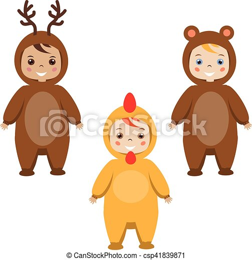 Kids party outfit. children in animal carnival costumes ...