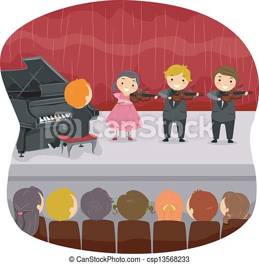 Kids performing a Musical Recital - csp13568233