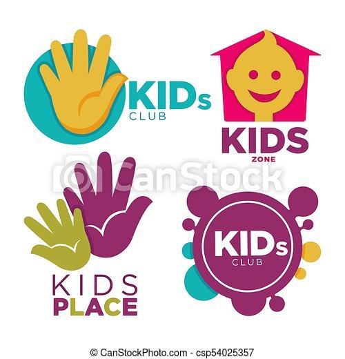 Kids Place With Entertainments Bright Promotional Emblems Set