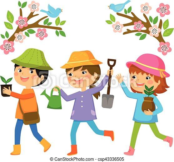 kids planting trees - csp43336505
