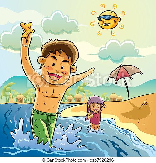 Kids Play On The Beach Vector