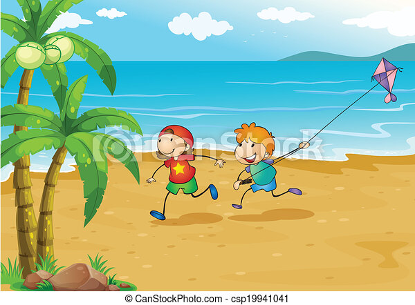 Kids Playing At The Beach With Their Kite Vector