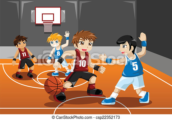 Kids playing basketball - csp22352173