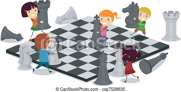 Kids Playing Chess - csp7528635