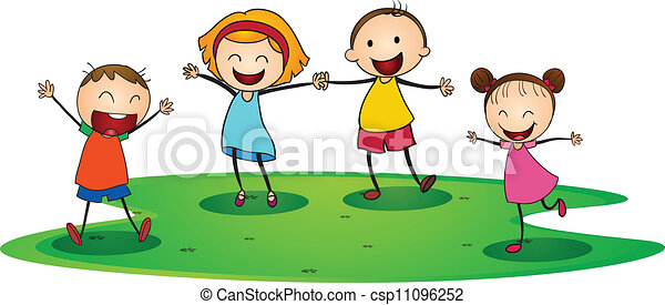 illustration of a kids playing happily outside rh canstockphoto com Dance Clip Art Love Clip Art